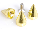 Rhinestone Biz Cone Spikes 10x15mm Screw Back - Gold