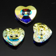Swarovski Sew-On 12mm Heart Crystal Button (3023) Crystal AB (Unfoiled)